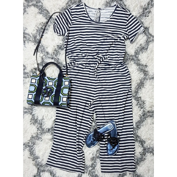 Old Navy Pants Blue And White Striped Jumpsuits Poshmark